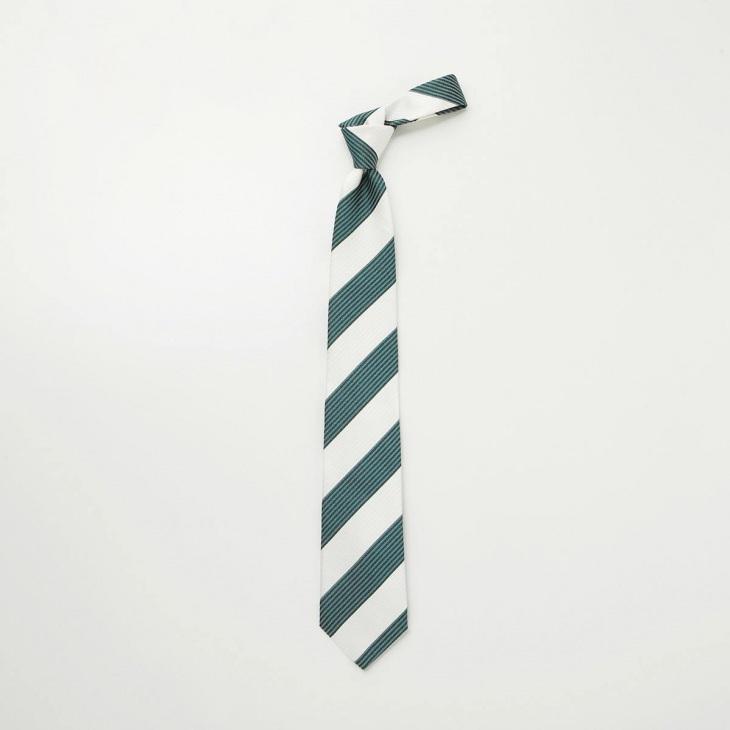 [クリケット] CRICKET サッカー織り2段ストライプ ネクタイ グリーン