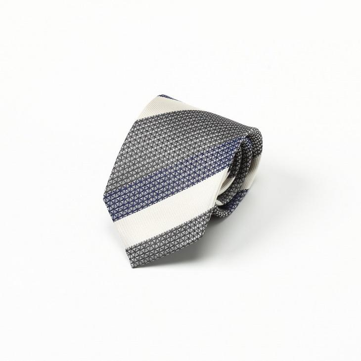 [クリケット] Cricket 擬紗織りストライプ柄 ネクタイ Premium グレー