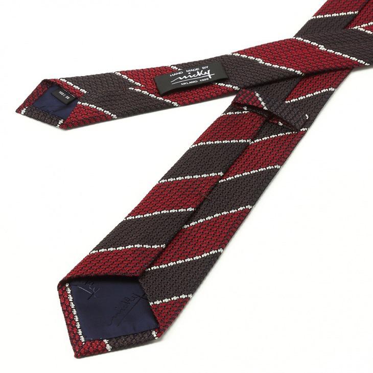 [ニッキー] Nicky フレスコ織り ストライプ柄 ネクタイ レッド