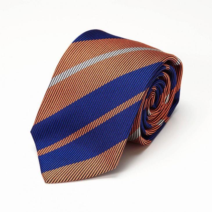 [クリケット] CRICKET 綾織りストライプ柄 ネクタイ オレンジ