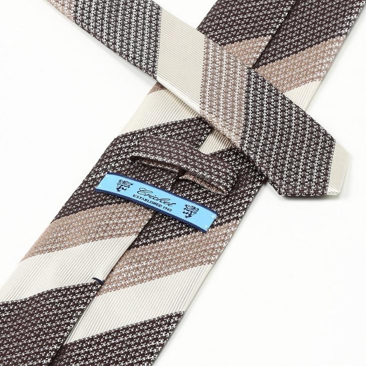 [クリケット] Cricket 擬紗織りストライプ柄 ネクタイ Premium ブラウン