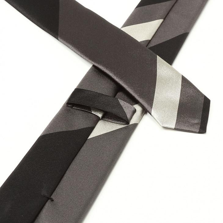 [ニッキー] Nicky サテン織り ビッグストライプ柄 ネクタイ グレー