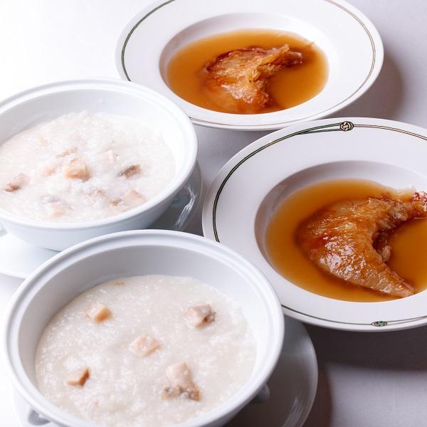 【御歳暮ギフト】焼きフカヒレの上湯ソースとアワビのお粥のセット(4人前)