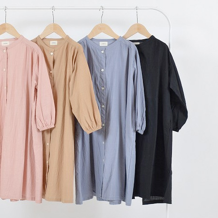 [40%OFF] undeny. ギャザーシャツワンピース S(90-100)/M(110-120)/L(130-140)/XL(150-160)
