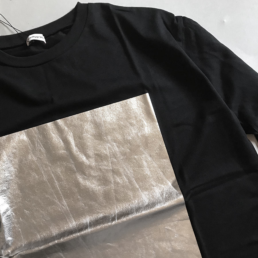 ●frankygrow SQUARE FOIL L/S TEE / WOMEN BK