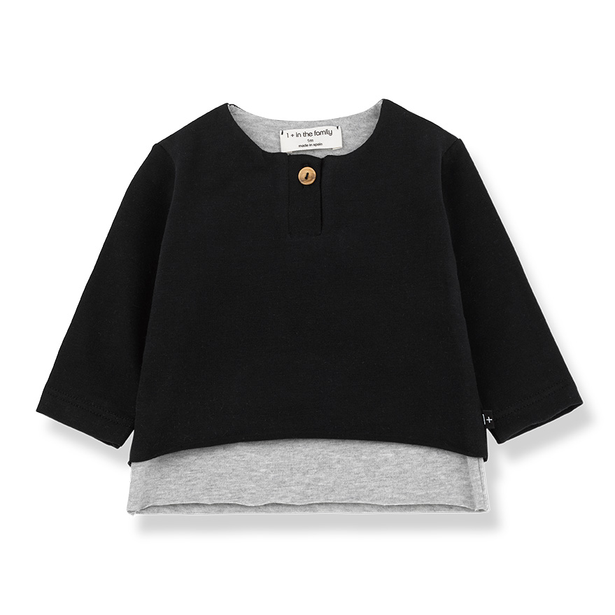 ●From spain 1+in the family ANTON ong sleeve t-shirt BLACK NB-60/70-80 organic cotton