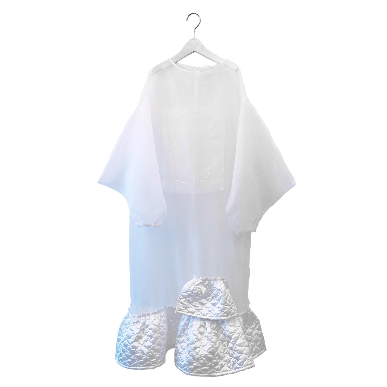 [30%off] frankygrow BEAR EMBROIDERY ORGANDY DRESS WHITE WOMEN franky grow フランキーグロウ\ワンピース