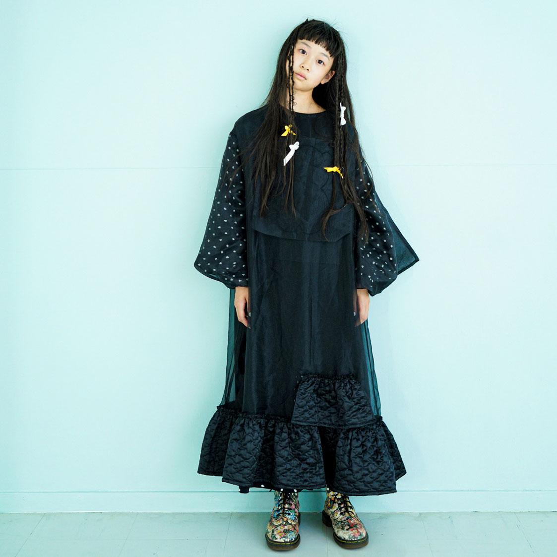 [30%off] frankygrow BEAR EMBROIDERY ORGANDY DRESS BLACK WOMEN franky grow フランキーグロウ\ワンピース