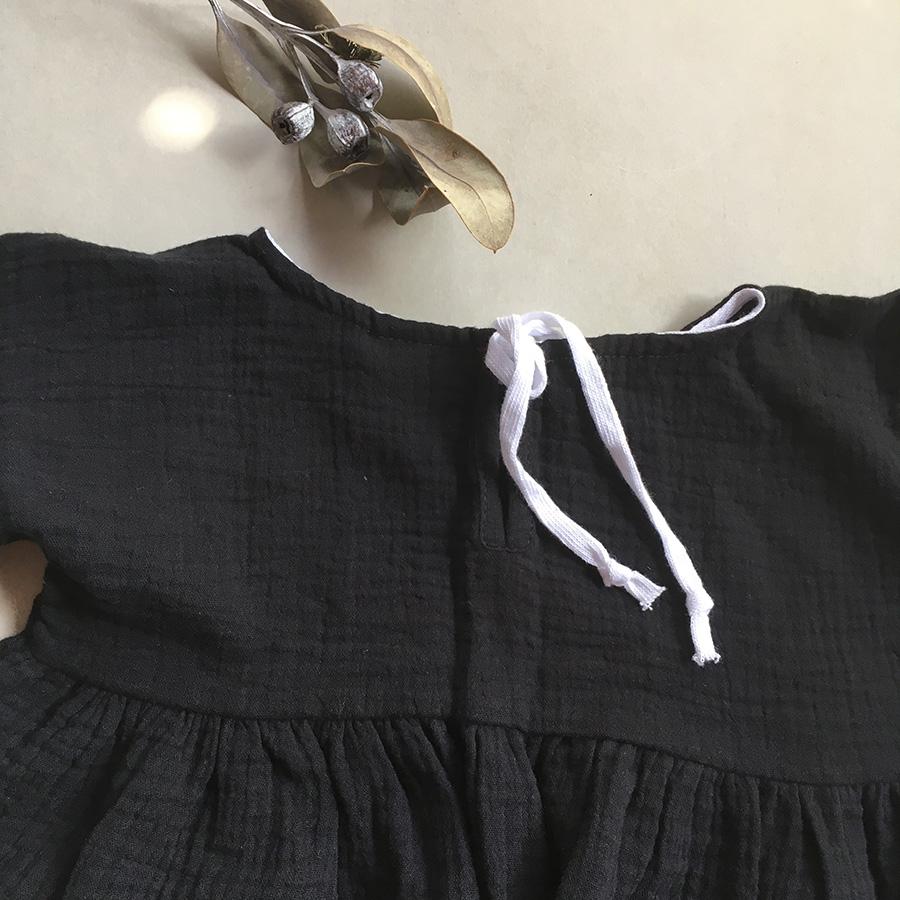 ●ドイツから liilu dress オーガニックコットン black 1-2Y/2-4/4-6Y