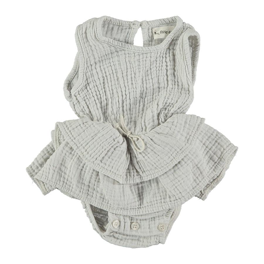 ●From spain MY LITTLE COZMO リネン ROMPER  DRESS オーガニックコットン  TAMI86 /カラーSTONE -/80/90