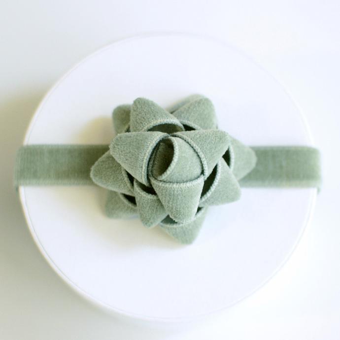●kubomi コットンベルベットリボンカチューム アイスグリーン