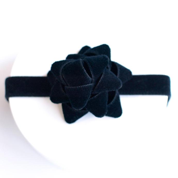 ●kubomi コットンベルベットリボンカチューム ブラック