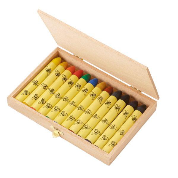 ドイツ・エコノーム  oekoNORM 木箱入り 蜜蝋 ミツロウクレヨン 12色セット