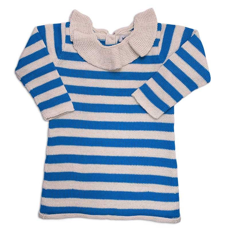 ● WADDLER ワドラー 15AW Striped Pierrot Dress ピエロカラードレス White and blue 100%Baby Alpaca 90-100/-