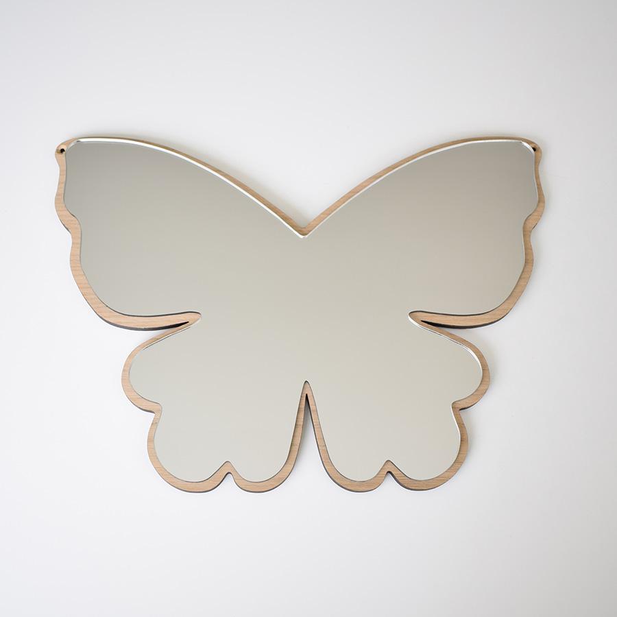 デンマークから Maseliving メーセリビング オーク材 ×壁掛けミラー Butterfly 約28 x 38.5cm
