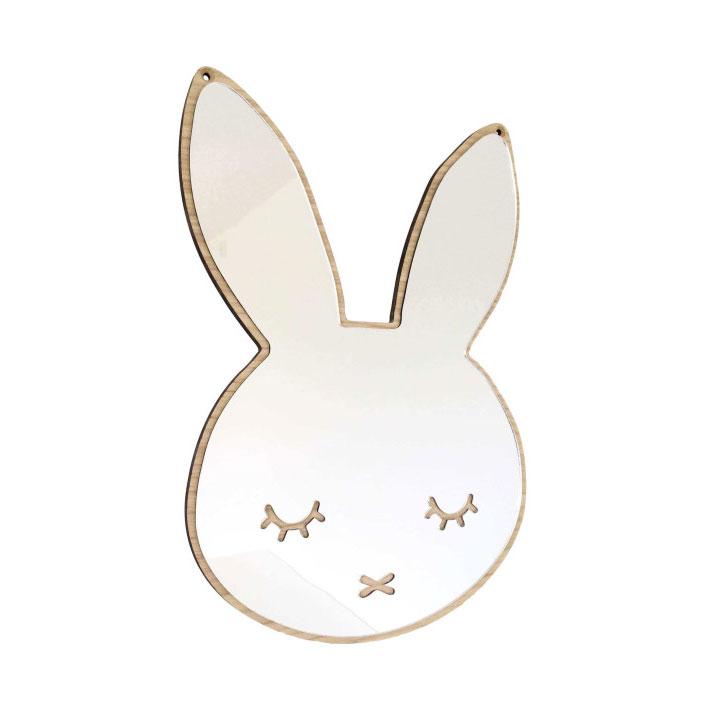 デンマークから Maseliving メーセリビング オーク材 ×壁掛けミラー Sleepy bunny 約37.5 x 26.5cm