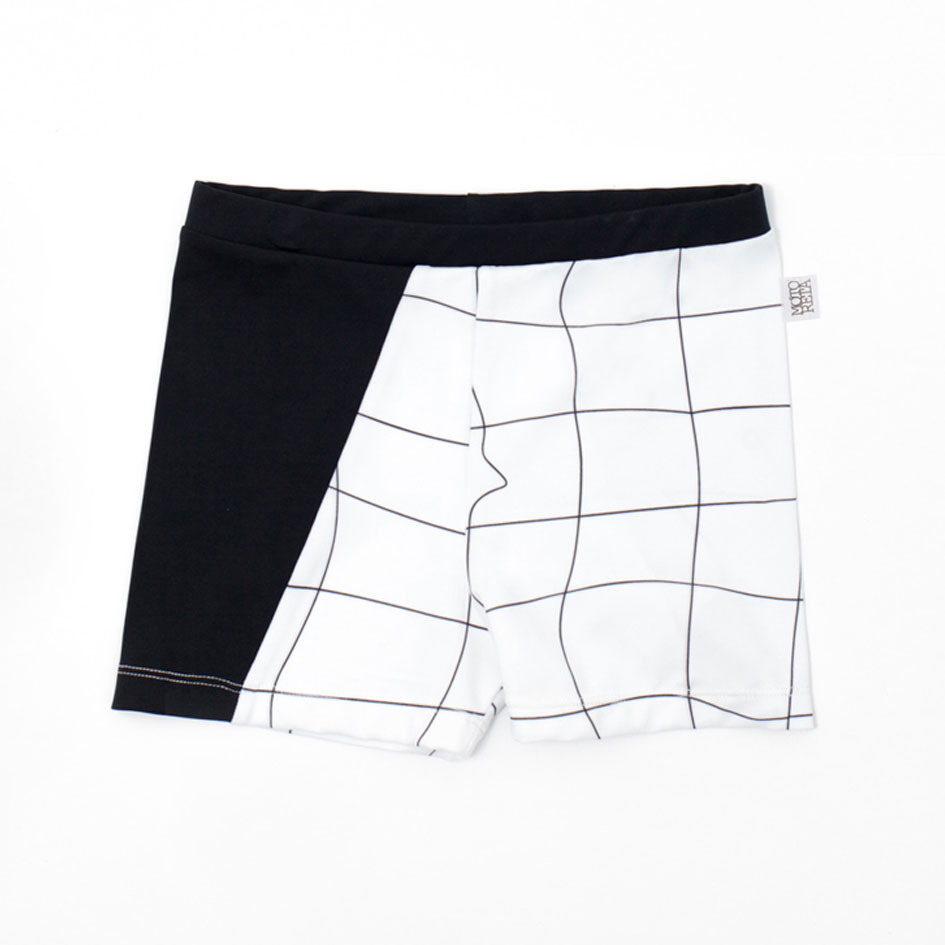 ●スペインから Motoreta  [※1 クリックポスト可] 17ss Grid Swim trunksWhite and black grid print.12M/24M/3Y/5Y/6-7Y