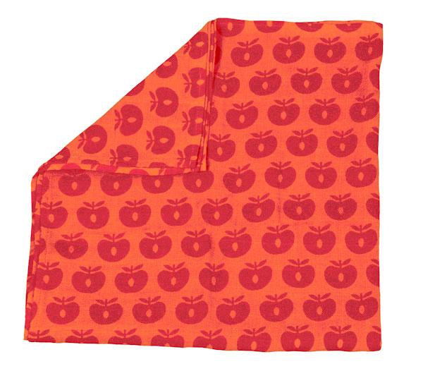 ●Smafolk スマフォーク  13SS 大判ガーゼクロス Burp Cloth apples オレンジ 70×70cm お風呂上りやプールにも
