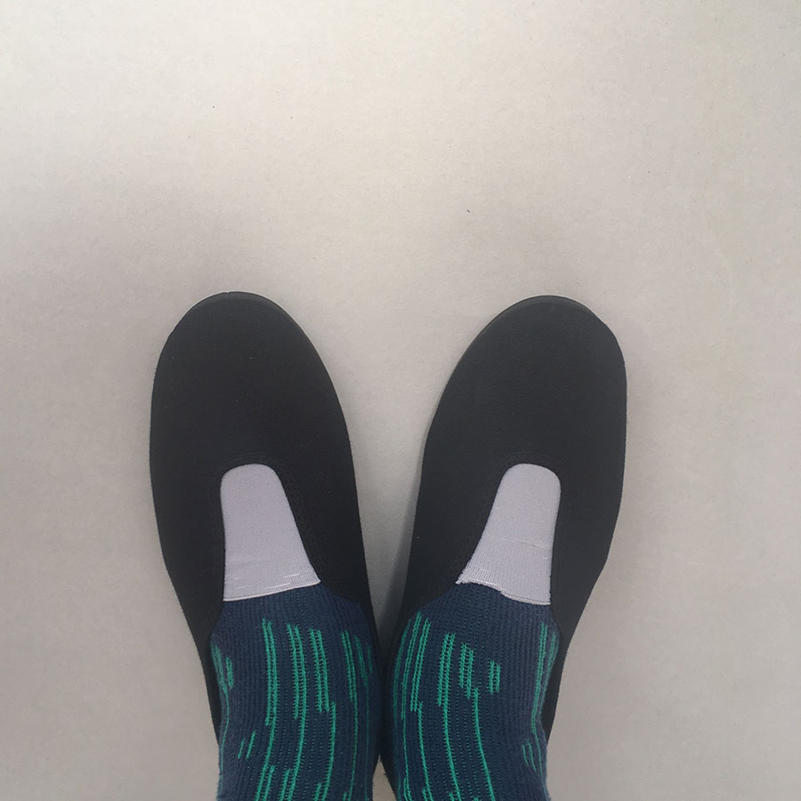La Cadena GIMNASIA - Panel Slip On Black / Beige 上履き 22.5-24cm