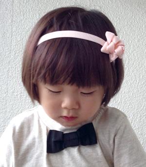●kubomi コットンベルベットリボンカチューム ピンク