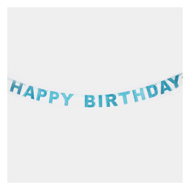 ●MY LITTLE DAY HAPPY BIRTHDAY GLITTER garland 1.85M ブルー