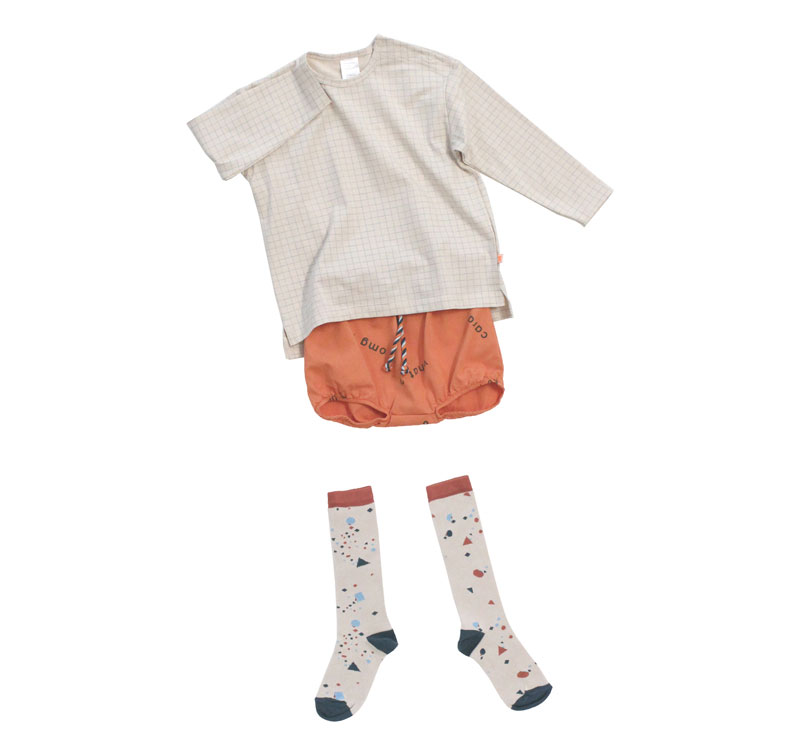 ● [※1 クリックポスト可] tinycottons タイニーコットンズ  geometry chat high socks beige12-18M/2Y/4Y/6Y/-