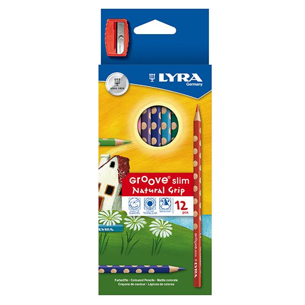 ドイツ LYRA リラ GROOVE slim natural Grip 12色色鉛筆 グルーヴスリム シャープナーつき