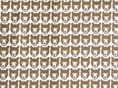 [※1 クリックポスト可] BRITA SWEDEN ブリタスウェーデン 北欧スウェーデンデザインファブリック  ハーフハーフカット 76×50cm  STINA くま柄 カラーBROWN