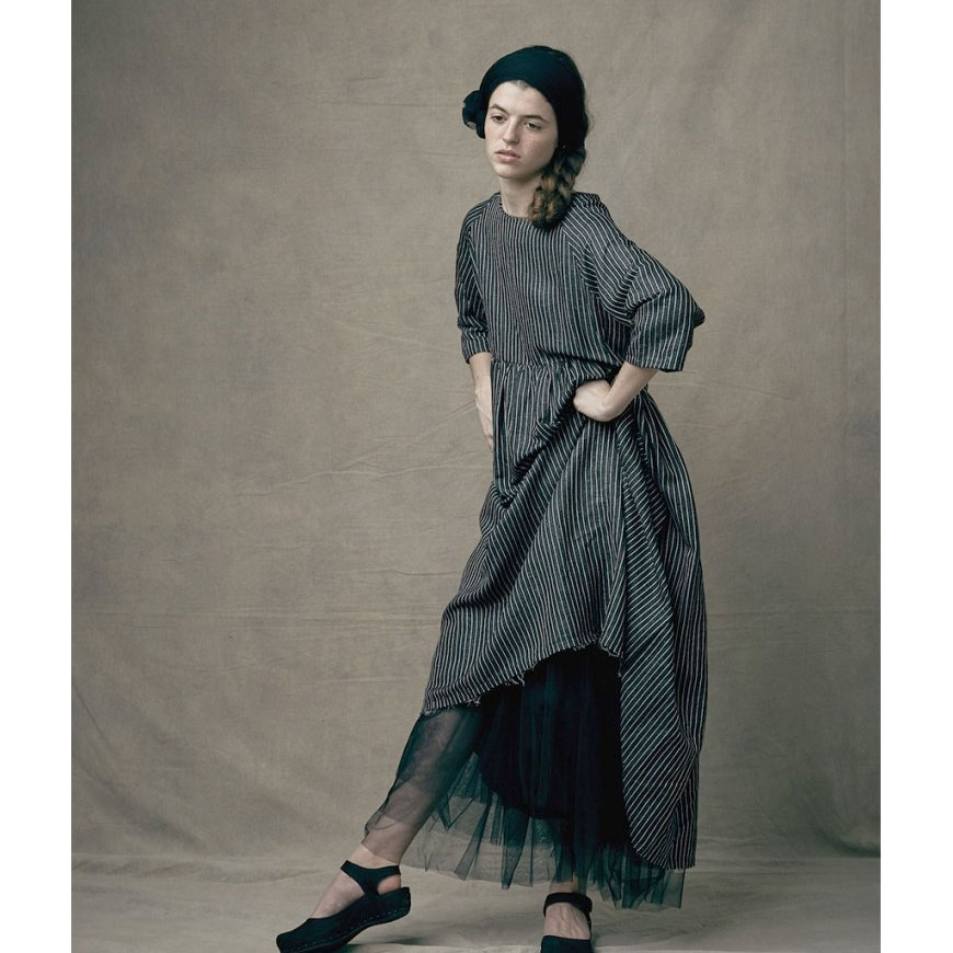 ●little crative factory スペインから  18SS Tap Woman Dress  大人S-M/大人M-L BLACK