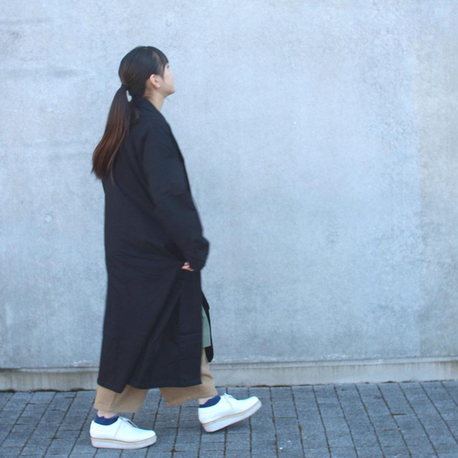 再入荷 [10%off] Fillil  コットンシングルコート 羽織 black大人サイズF 150キッズとしても 男女兼用