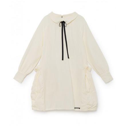 ●little crative factory スペインから  17AW  Manuela's Ruched Pocket Dress -/-/-/-/-/12Y/- WHITE
