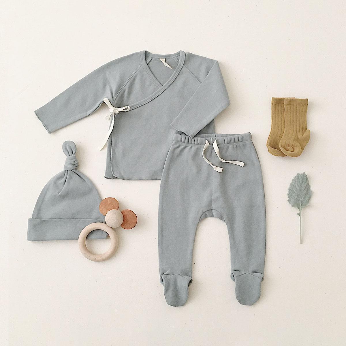 Quincy Mae オーガニックコットン  Kimono Top + Footed Pant SET 6-12M [ネコポス対応可] OCEAN 60 出産祝