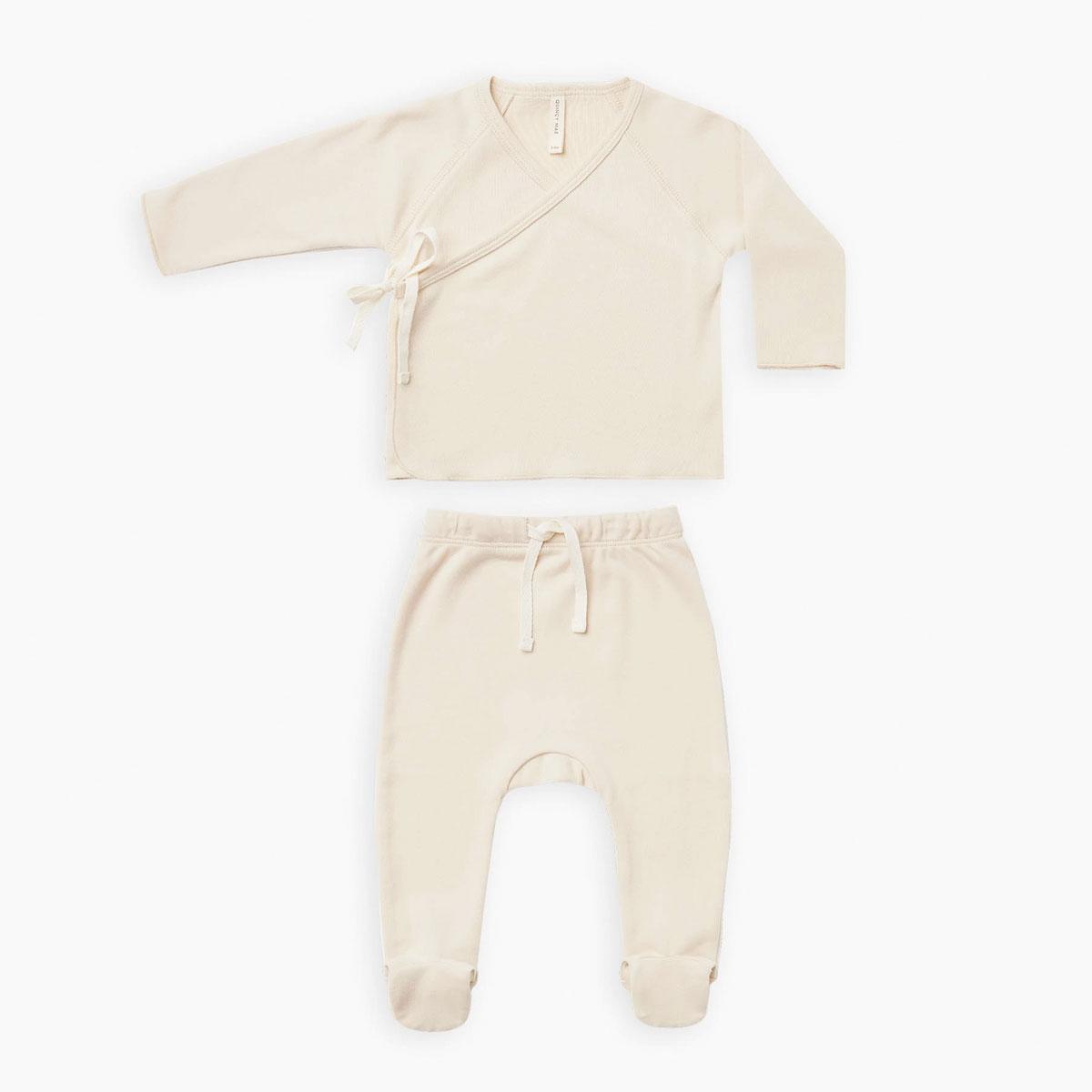 Quincy Mae オーガニックコットン  Kimono Top + Footed Pant SET 6-12M [ネコポス対応可] NATURAL 60 出産祝