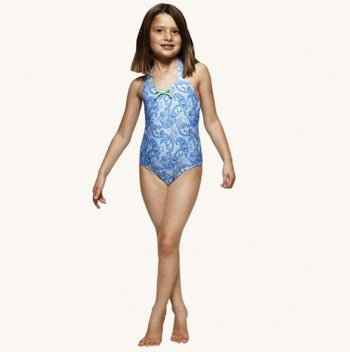 [再下-70%]SUNUVA スヌーヴァ 紫外線97%カット 13SS blue Paisley Halter Swimsuit ブルーペイズリーホルターネック 水着 1-2Y/-/-