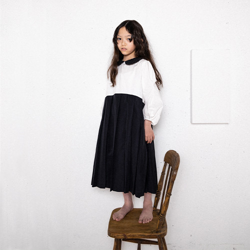 ●frankygrow DOTS MT COLLAR PLEATS SKIRT DRESS S/M/L