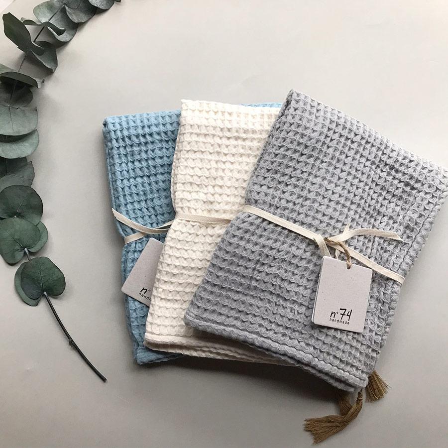 Numero オーガニックコットン bath towel 50*90 blue/natural/grey