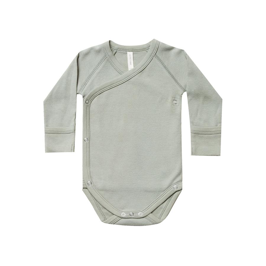 ●Quincy Mae オーガニックコットン Kimono Onesie  [ネコポス対応可] Sage 50-60/60-70