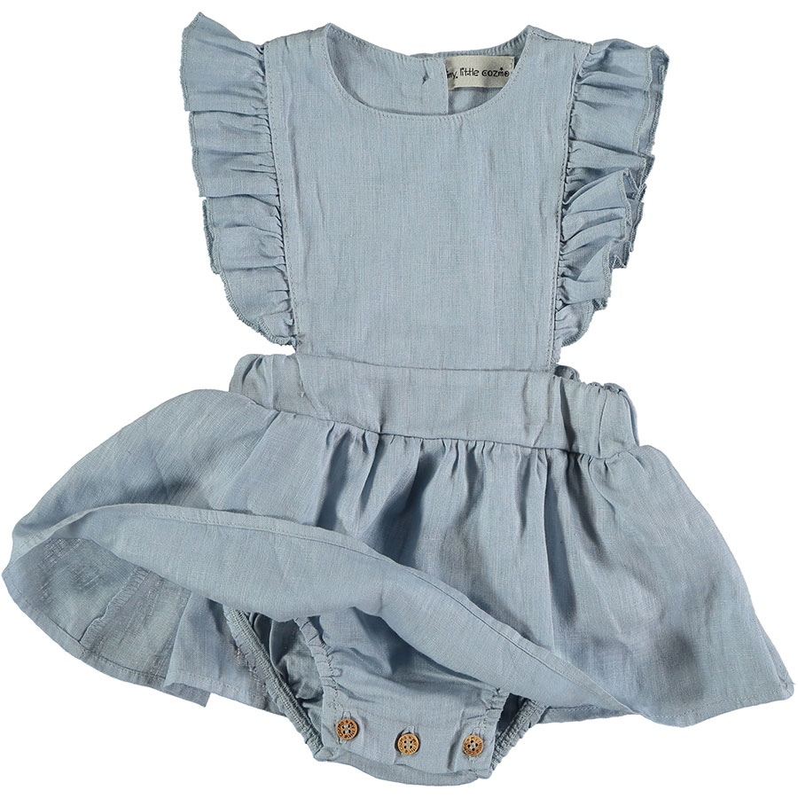 [30%OFF]From spain MY LITTLE COZMO リネン ROMPER  DRESS  ANAI82 /カラー BLUE 60/80/90