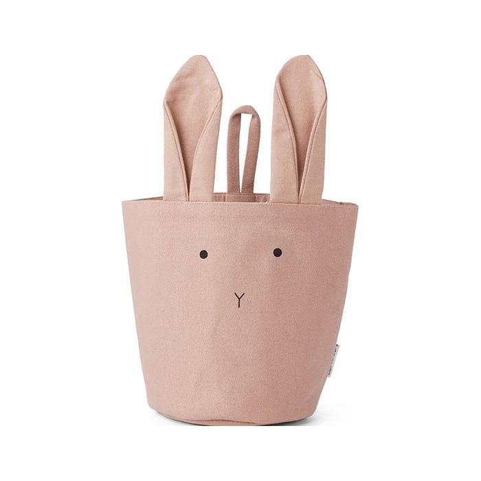 ●FROM DENMARK LIEWOOD lb Fabric Basket 100% ORGANIC COTTON Rabbit rose 直径14.5cm 高さ18cm