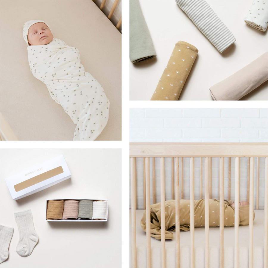 ●Quincy Mae オーガニックコットン Swaddle  [ネコポス対応可] 120x120cm 出産祝い・出産準備に