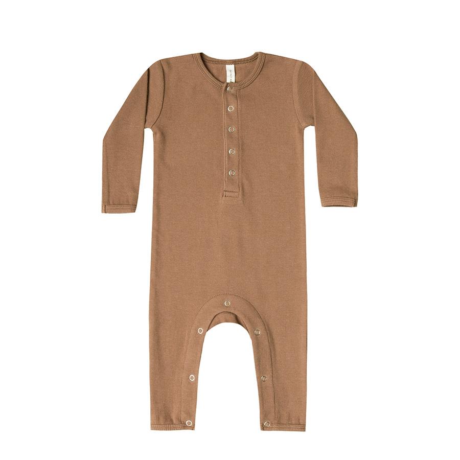 ● Quincy Mae オーガニックコットン Ribbed Baby Jumpsuit  [ネコポス対応可] copper 60-70/80-90