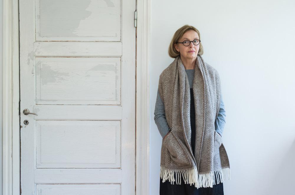 From Finland LAPUAN KANKURIT Pocket shawl MARIA grey-white/ brown / black-GREY 60 x 170cm
