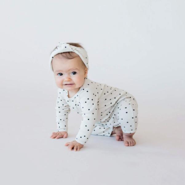 ●Quincy Mae オーガニックコットン Ribbed Baby Jumpsuit  [ネコポス対応可] sea 60-70/80-90