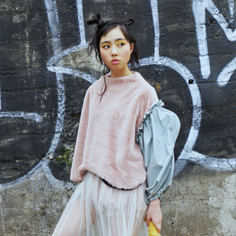 【50% OFF】BOA BODY WAVE CUT SLEEVES TOPS / PINK-LIGHT GRAY S/M/L