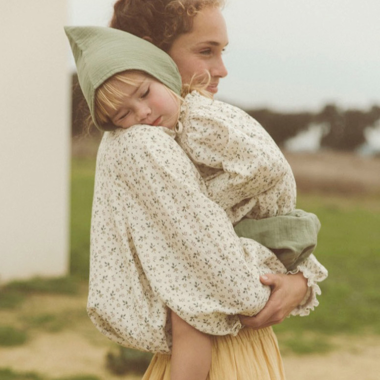 ●From GERMAN liilu blouse [※1 クリックポスト可] Bloomer Olive 6-12m/12-18m organic cotton