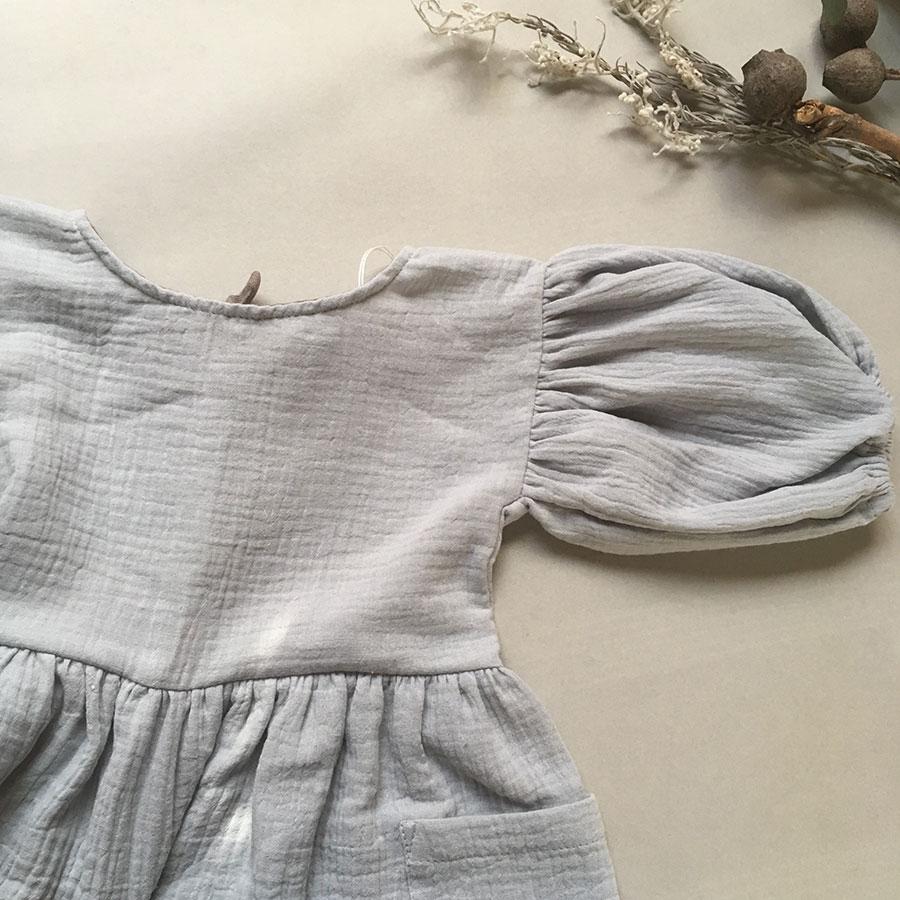 ● ドイツから liilu  オーガニックコットン liana dress bluegrey 1-2/2-4/4-6