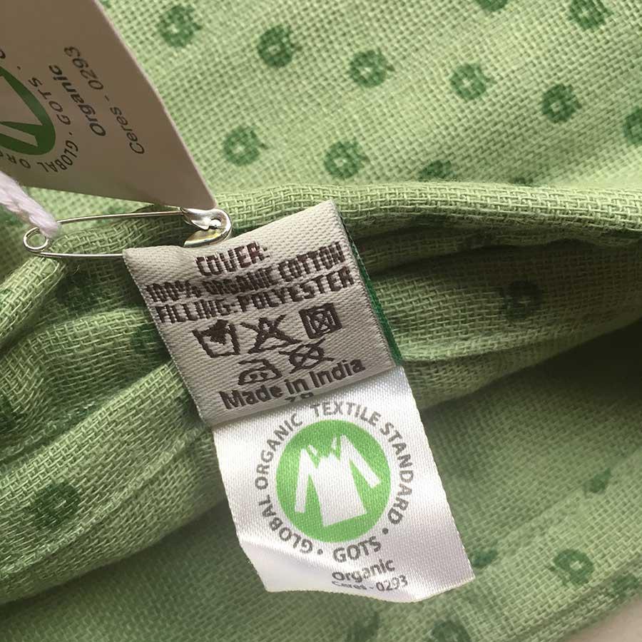 デンマークから Smafolk オーガニックコットン 大判ガーゼクロス 【クリックポスト可】  Burp Cloth mini apples ライトグリーン 70×70cm お風呂上りやプールにも