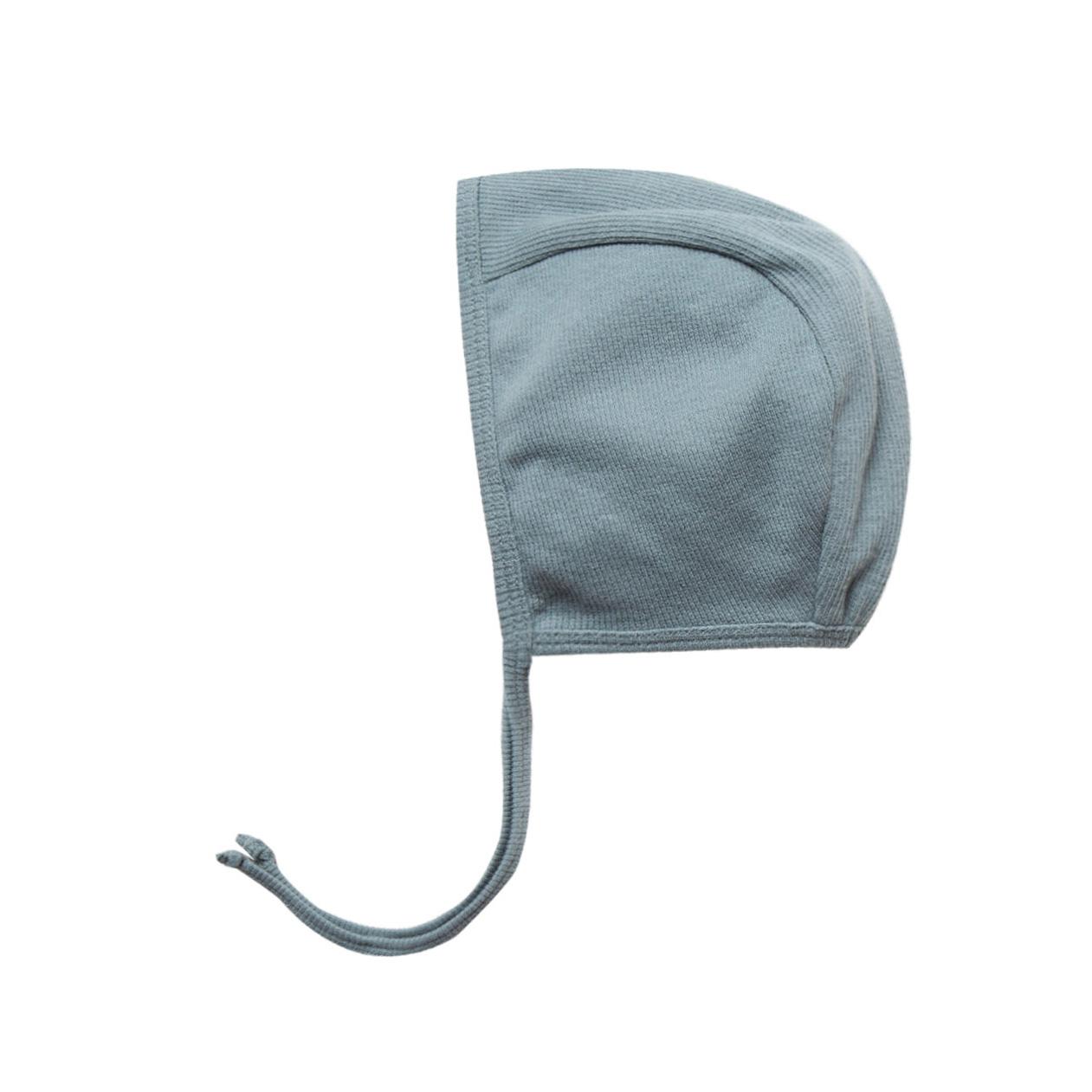 ●Quincy Mae オーガニックコットン Ribbed Baby Bonnet  [ネコポス対応可] Sea 新生児/6ヶ月