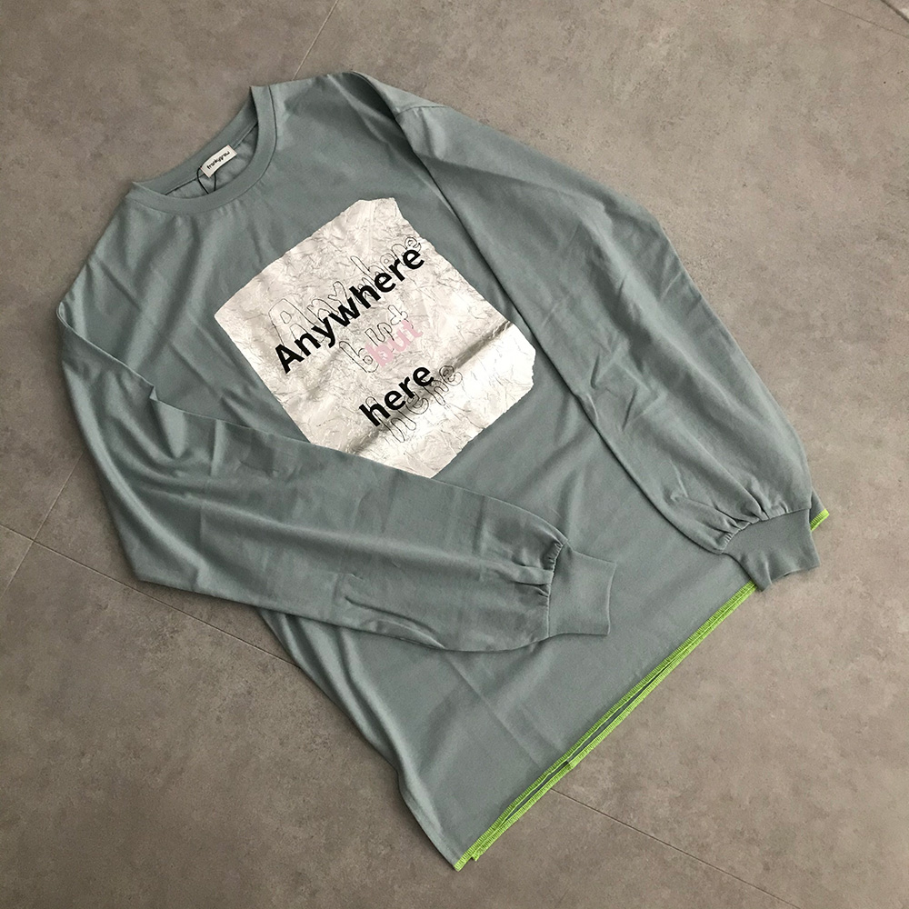 frankygrow CRUMPLE FOIL L/STEE /フリーサイズ カラーブルーグレー