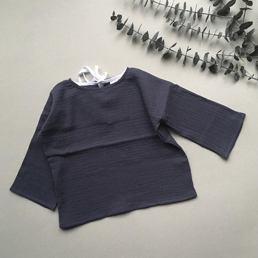 ●ドイツから liilu blouse オーガニックコットン  [※1 クリックポスト可] oversize shirt midnight -/-/-/6-8y